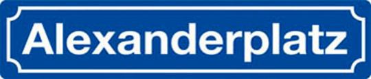 Straßenschild »Alexanderplatz«.