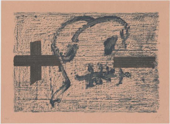 Antoni Tàpies. Farblithografie »Llambrec material VII«, Galfetti 545 (1975).