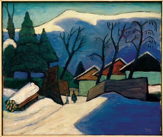 Gabriele Münter. Drei Häuser im Schnee, 1933.
