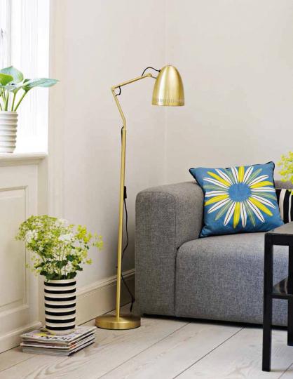 Goldene Stehlampe aus Dänemark.