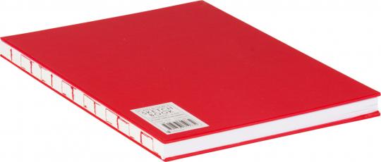 Großes Skizzenbuch mit Blanko-Seiten, rot. Koptische Bindung.