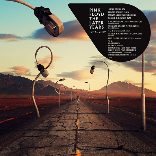 Pink Floyd. The Later Years 1987 - 2019. 5 CDs, 1 Blu-ray Audio, 5 Blu-ray Discs, 5 DVDs, 2 Singles 7«.