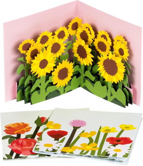Pop-Up Grußkarten Set »Die Blumenfelder«.