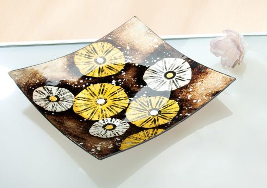 Quadratische Schale »Golden Flower«.
