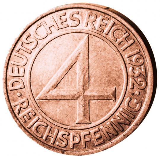 Reichspfennig-Satz 1932. 6 Münzen.