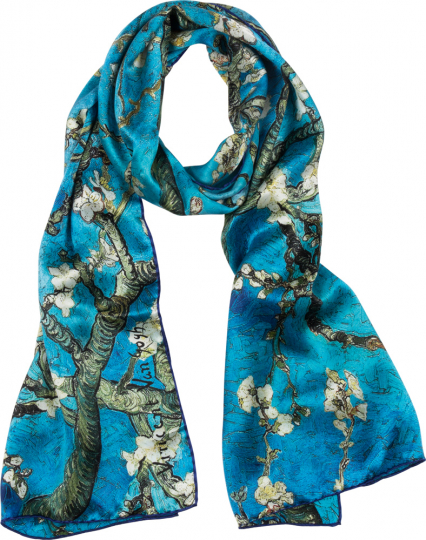 Seidenschal Vincent van Gogh »Mandelbaum«, blau.