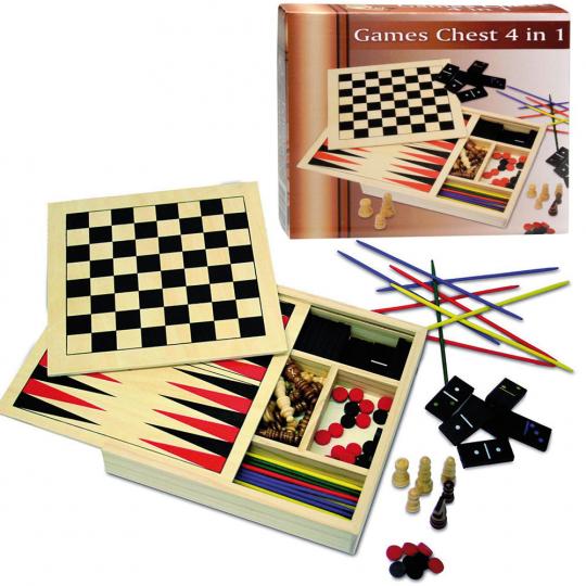 Spielekiste. Mikado, Domino, Schach, Dame.