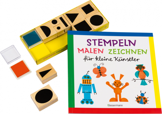 Stempeln, malen, zeichnen Set für kleine Künstler. Buch mit 10 Holzstempeln und 2 Stempelkissen.