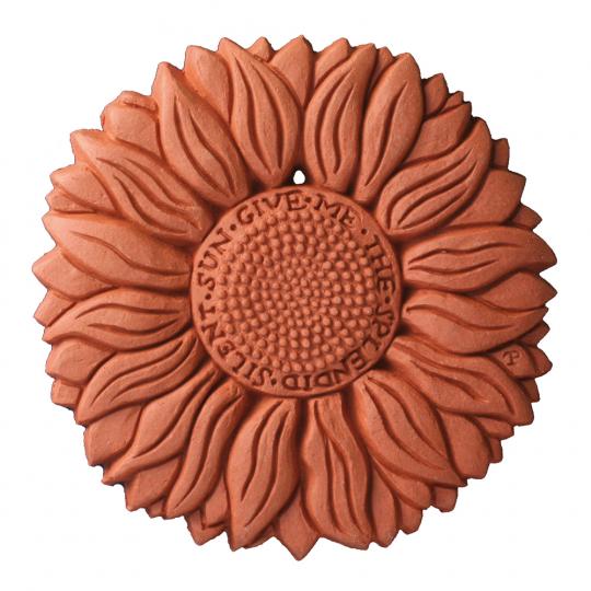 Terracotta Wandfliese »Sonnenblume«.
