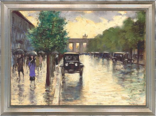 Unter den Linden mit Blick auf das Brandenburger Tor. Lesser Ury (1861-1931)