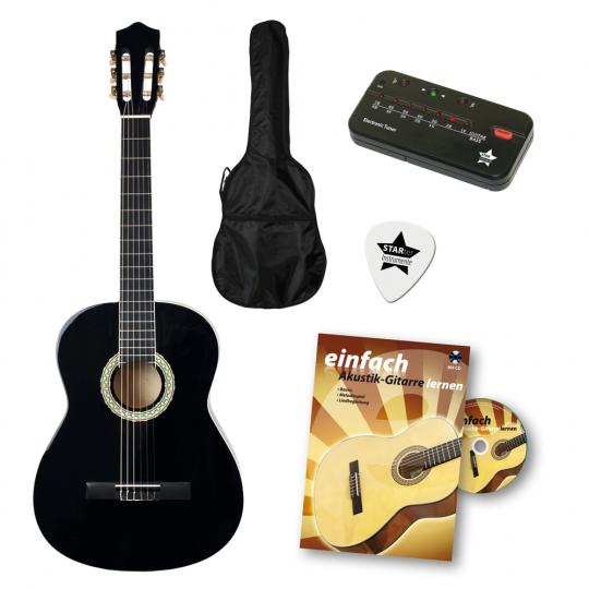 Voggenreiter Gitarren-Einsteiger-Set. Schwarze Akustik-Gitarre.