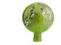 Glaskugel für den Garten, grün und bunt getupft. Bild 1