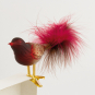 Glasvogel mit Federn, gold/rot. Bild 2