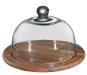 Runde Käseglocke aus Akazienholz mit Glasdeckel. Bild 2